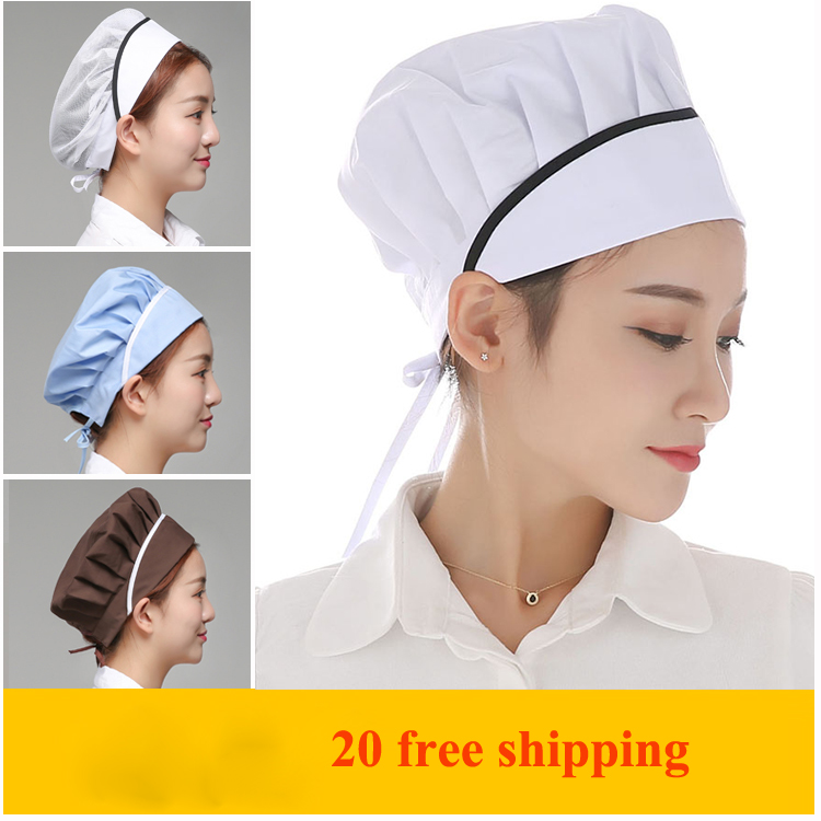 If  Western Large Size White Baotou Hat Indoor Work Net Cap Short Hair Ladies Chef Hat Elastic Sleeve 20 Free Shipping