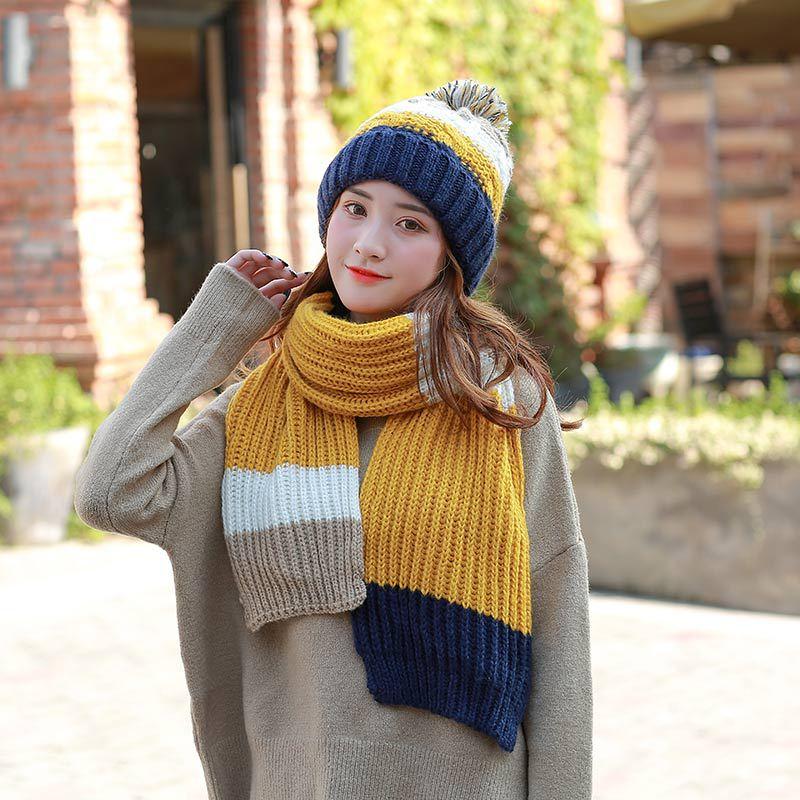 2018 Patchwork Knitted Hat Scarf Caps Warmer Winter Hats For Women   Skullies     Beanies   Warm Fleece Cap Pompoms Hats For Girls Boys