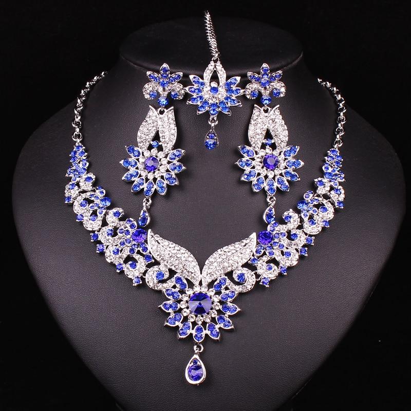 Indian Gold Necklace Set: Hot Design Indian Bridal Jewelry Set Crystal Gold Color