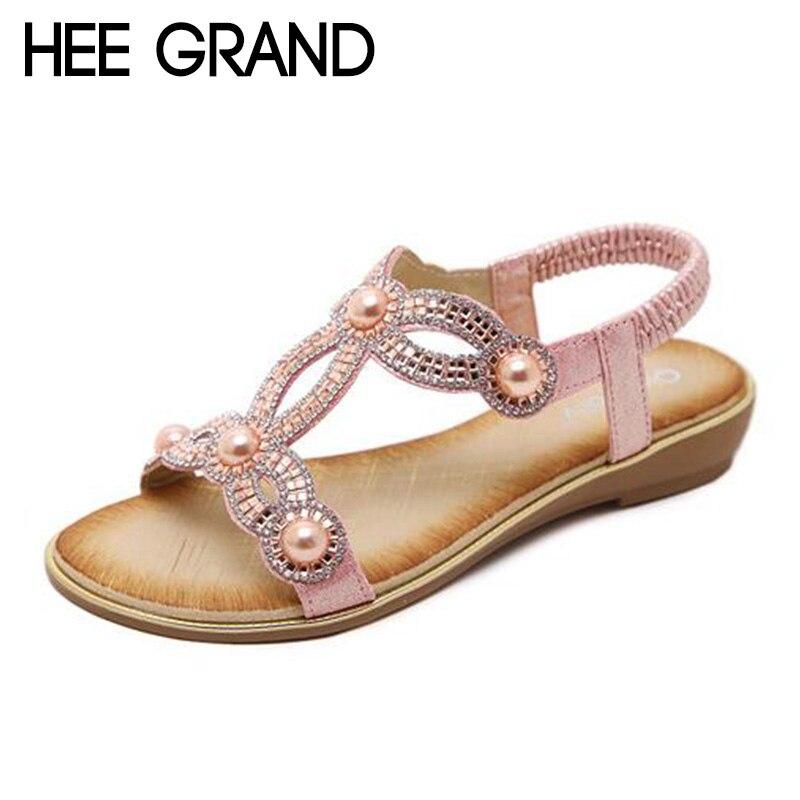 HEE GRAND 2018 Neue Frauen Perle Dekoration Sandalen mit Plattform Mujer Sandale Wohnungen Frauen Strand & Sun Urlaub Schuhe XWZ4920