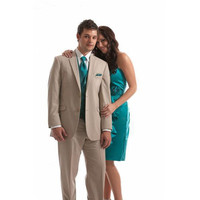 Customized champagne men's wedding dress men's lapel lapel tuxedo 3 Slim fit for the groom wedding (jacket + pants + vest)