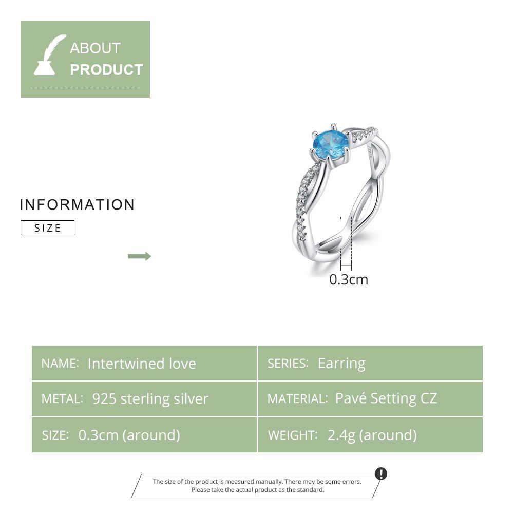 WOSTU 100% 925 เงินสเตอร์ลิง Intertwined Love งานแต่งงานแหวนคริสตัลนิ้วมือซ้อนทับได้สำหรับเครื่องประดับ FIR547