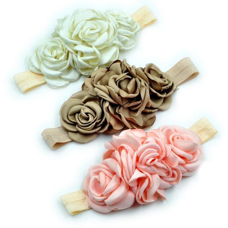 5PCS 3colors módní vrstvený květ na elastický čelenka ručně vyráběné tkaniny květinový dětský čelenka pro děti vlasové doplňky