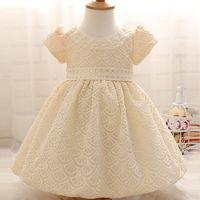 Wholesale Retail Free Shipping Korea Style Beige White Princess Lace Dress Baby Girls Party Mesh Dress
