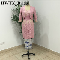 Elegant Pink Lace Mother of the Bride Dress 2018 Plus Size Two Pieces with Jacket Mother Wedding Gown Mae Da noiva vestidos