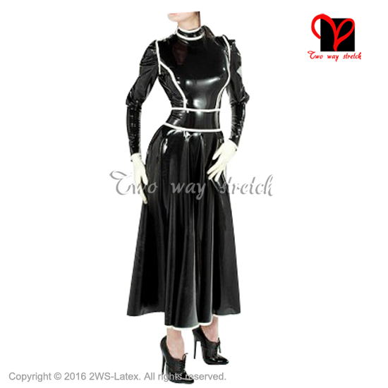 Sexy Black And White Trims Long Latex Dress Frech Maid