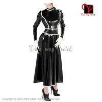 Sexy Czarne i białe wykończenia Długa sukienka Lateksowa Frech Maid suknia Długie Rękawy Gumowe QZ-100 Playsuit Bodycon plus size