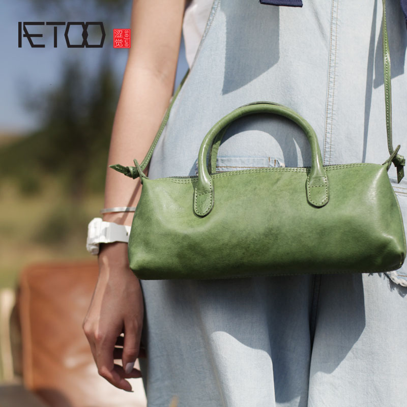 AETOO Summer new art and art forest women's bag green leather retro shoulder bag shoulder bag leather diagonal small bag цены