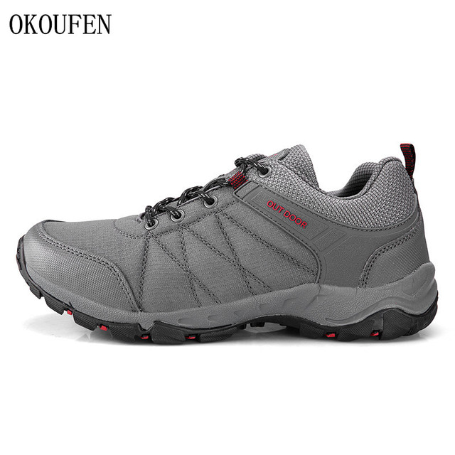 0c068c6d2c51 OKOUFEN New Men Hiking Shoes Breathable Upper Camping Sports Shoes Trekking  Climbing Mountain Non-Slip Men s Outdoor Sneakers