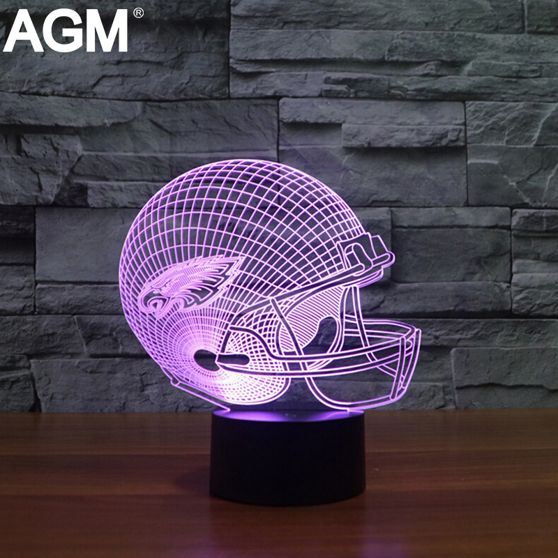 Illusion 3D LED NFL Sport Shape USB Table lamp Touch 7 Colors ...