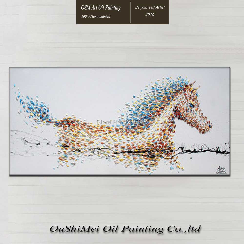 Modern Style Hand Painted Oil Paintings on Canvas by Skillful Painter Drawing Animal Horse Hang Pictures Crafts for Home Decor