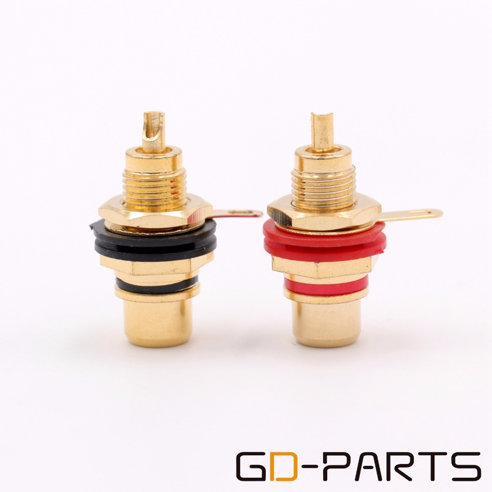 Gold Plated Brass Female RCA Jack Connector Audio Video TV Signal Terminal Socket Panel Chassis Mount Hifi DIY