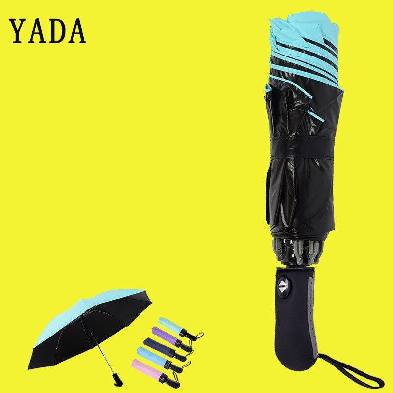 YADA Solid Color Folding Automatic Umbrella For Women Men Anti-UV Rainproof Protection Parasol Rain Sun UV Female YD084