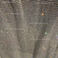 120cm 45cm Rhinestone Metallic Cloth Crystal Metal Mesh Fabric Sequin Silver Rolls For Cosplay Apparel Curtains