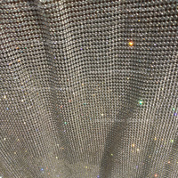 120cm*45cm silver Rhinestone metallic cloth Crystal metal mesh sequin rolls kendal jenner dress fabric Cosplay apparel curtains