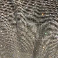 120cm*45cm silver Rhinestone metallic cloth Crystal metal mesh sequin rolls kendal jenner dress fabric Cosplay apparel curtains