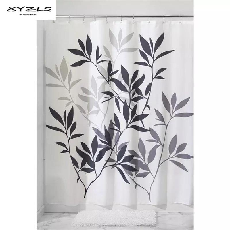 XYZLS Europe Style Leaves Printed Shower Curtain Bathroom Waterproof Mildewproof Polyester Fabric Bathroom Curtain with Hooks