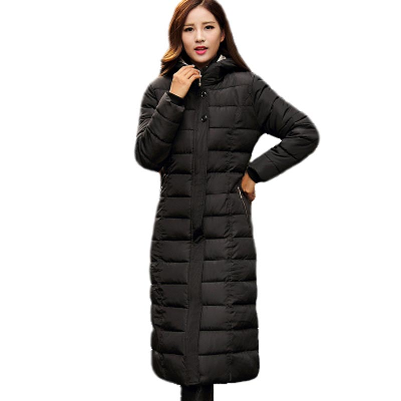 High Quality 2017 Women Cotton Padded Winter Jacket Thicken Warm Slim Parkas Hooded X-Long Overcoat Female Plus Size PW0414 2017 new winter fashion cotton coat female slim warm hooded parkas female overcoat high quality women cotton padded long jacket