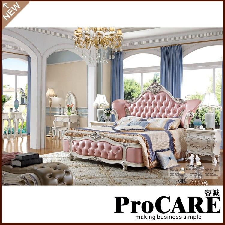 Современный итальянский резная деревянная мебель спальни кожа king size