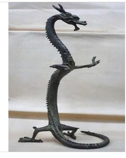Décoration bronze usine pur laiton Antique exquis bronze chinois dragon statue Figures 17