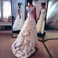 2015 Vestido De Noiva Lace Boat Neckline Sweep Train Vintage Fashionable Wedding Dresses Discount Bridal Gown Custom Made