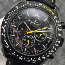 Luxury Brand New Men Automatic Mechanical Watches Speed Full Black Leather Canvas Luminous Red Blue Yellow Moon Watch Glass Back