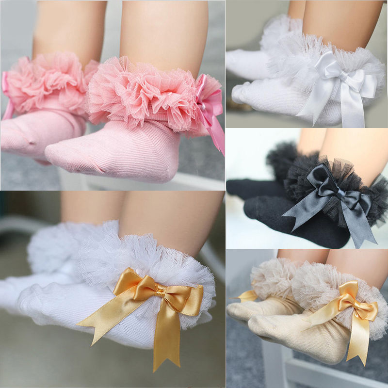 Baby Girls Socks With Bow Tie Lace Ruffle Princess Cotton Sock With Ribbons Multi Colors Gray Red Black Pink White