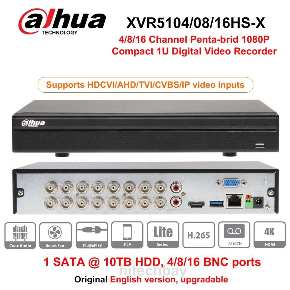 Dahua XVR5108HS X XVR5116HS X 8 16 Channel 1080P Compact 1U Digital Video Recorder support CVI