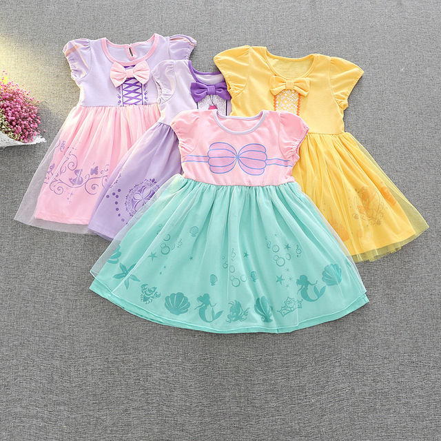 7b3fa7ea7d63 € 14.0 20% de DESCUENTO|2018 vestidos de algodón de verano para niñas Belle  Rapunzel princesa arco vestido de una línea de algodón bebé princesa ...
