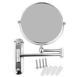 De alta calidad de 8 pulgadas de acero inoxidable montado en la pared ampliar plegable de doble lado 5x espejo de aumento para cuarto de baño