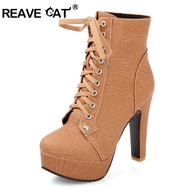 REAVE CAT Autumn Winter Women Ankle boots high heels Lace up leather double  buckle Platform short