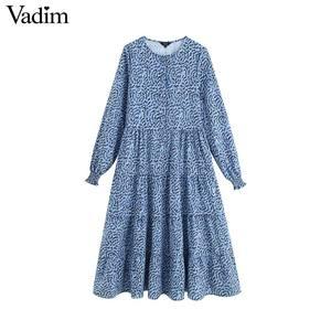 Image 1 - Vadim נשים שיק הדפסת שמלה ארוך שרוול O צוואר קו גבוהה מותן נקבה קרסול אורך שמלות vestidos QC560