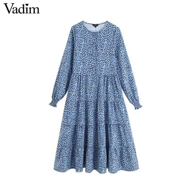 Vadim נשים שיק הדפסת שמלה ארוך שרוול O צוואר קו גבוהה מותן נקבה קרסול אורך שמלות vestidos QC560