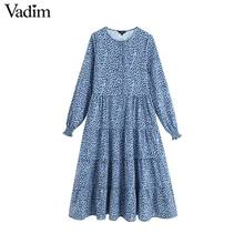 Vadim femmes chic imprimé robe à manches longues O cou une ligne taille haute femme cheville longueur robes vestidos QC560