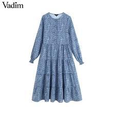 Vadim 여성 세련된 프린트 드레스 긴 소매 o 목 라인 높은 허리 여성 발목 길이 드레스 vestidos qc560