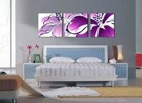 紫色の花抽象ユリ3ピース現代油絵ジクレー版画装飾壁アート(枠なし)カスタム絵画歓迎