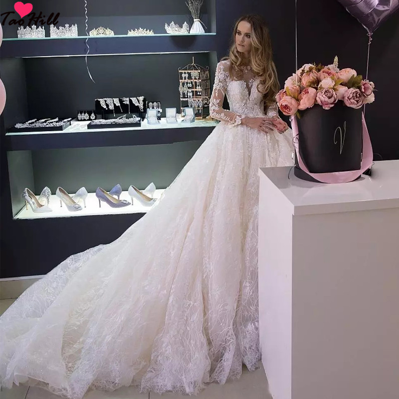 TaoHill Long Sleeve  Wedding Dress  Ball Gown Fashion Puffly Luxury Lace Beige Bridal Gowns China
