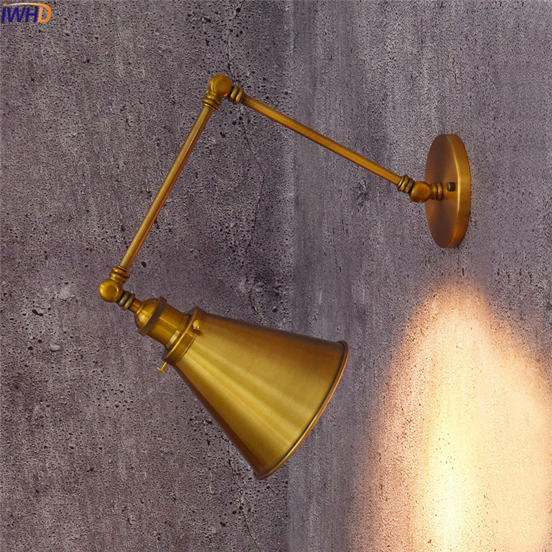 IWHD Iron Adjustable Arm Wall Lamp Edison LED Wandlamp Simple Fixtures Home Lighting Bathroom Light Applique Murale Luminaire