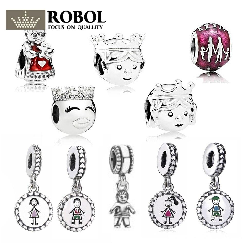 ROBOL 100% 925 Sterling Silver 1:1 Charm Original Warm Family Kind Grandmother Princess And Prince Boy Girl Beaded Pendant