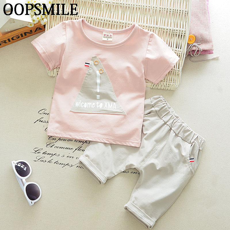 2017 Summer Baby Sets Baby Boys Cartoon Cotton T-Shirts + Pants Suit 2pcs Newborn Baby Boys Clothes Suit 2018 checkered baby sling suit summer