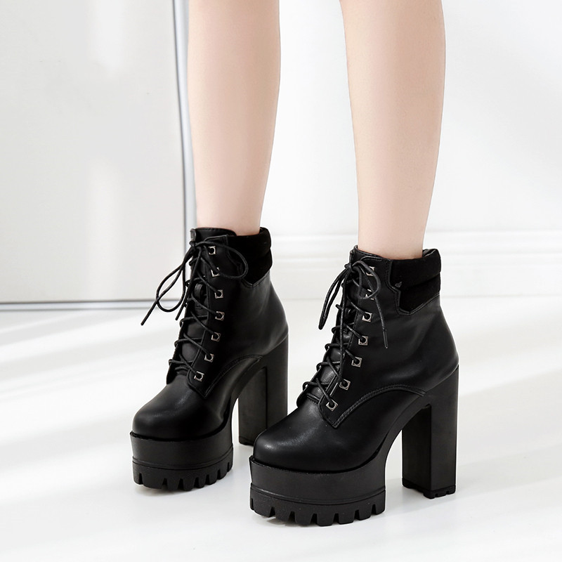 YMECHIC Punk Goth Platform Womens Boots Ankle Lace Up Super High Heels Black Motorcycle Boots Ladies Shoes Autumn 2019 Booties