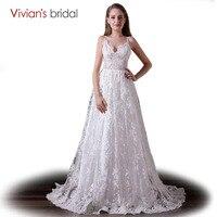 Линия свадебное платье V шеи бретельках кружевное свадебное платье пляжное свадебное платье с открытой спиной