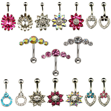 1pc Surgical steel Fashion Flower CZ Fem Navel Bar Belly Button Rings Piercing For Women Navel Body Jewelry 14g