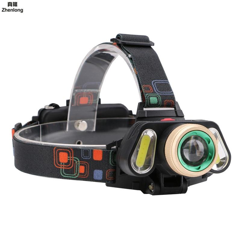 LED Headlamp Zoomable 3Leds T6 Head Flashlight Torch Sensor Rechargeable Head Light Forehead Lamp Head Fishing Headlight 18650