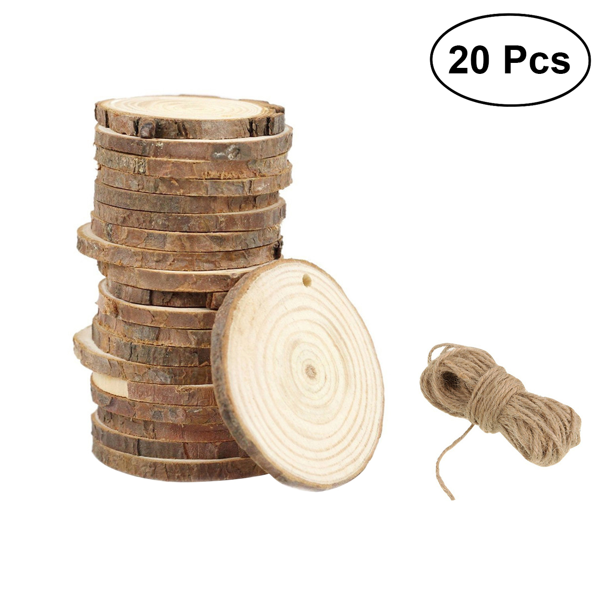 20pcs Wood Log Slices Discs Round Wooden Slices Circles For DIY ...