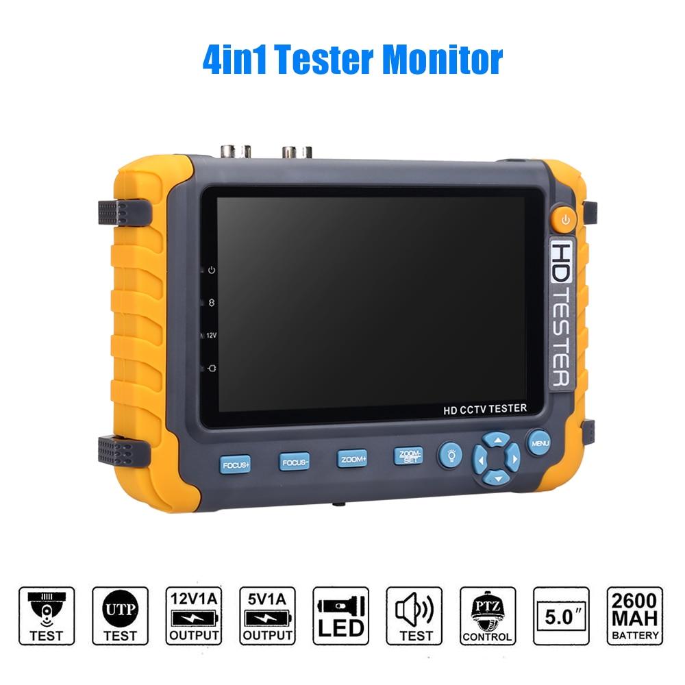 5 Inch TFT LCD 1080P 5MP 4 IN 1 TVI AHD CVI Analog WIFI CCTV Tester