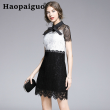 2019 Summer Bodycon Wrap Dress Women Hollow Out A-Line Casual Mini Dress Black White Contrast Lace Dress Women S-XXL Plus Size plus contrast lace teddy