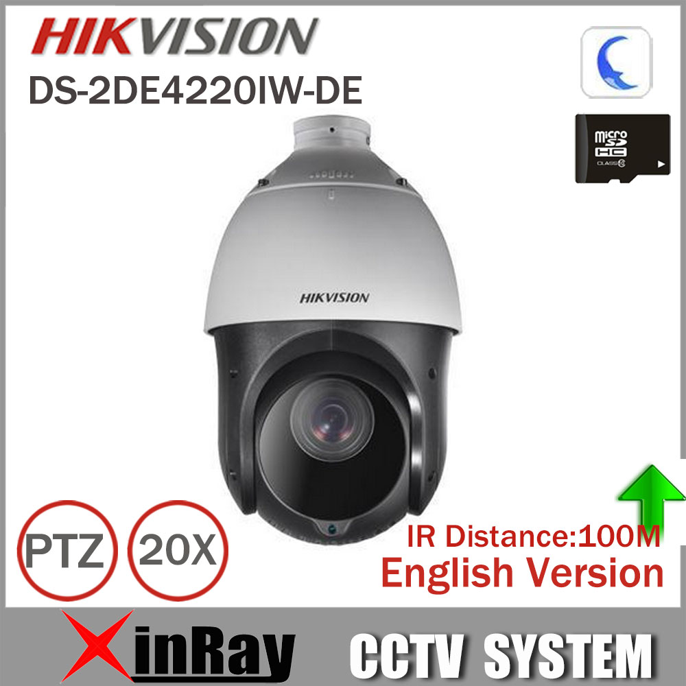 Hikvision PTZ IP Camera DS-2DE4220IW-DE With IR Range 100m 4.7-94mm Lens 2mp Speed Dome Camera Support Onvif CCTV Camera hikvision ds 2de7230iw ae english version 2mp 1080p ip camera ptz camera 4 3mm 129mm 30x zoom support ezviz ip66 outdoor poe