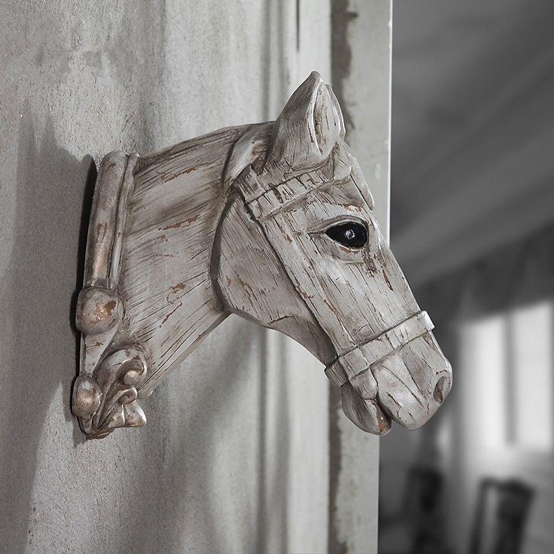 White Style Woodcut Creative Resin Animal Head Rhino Bull Horse Deer Antelope Head Wall Decoration Retro Wall Hanging Ornaments