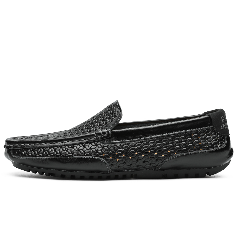 Summer Men Shoes Casual Luxury Brand Genuine Leather Mens Loafers Moccasins Italian Breathable Slip on Boat Summer Men Shoes Casual Luxury Brand Genuine Leather Mens Loafers Moccasins Italian Breathable Slip on Boat Shoes Black JKPUDUN